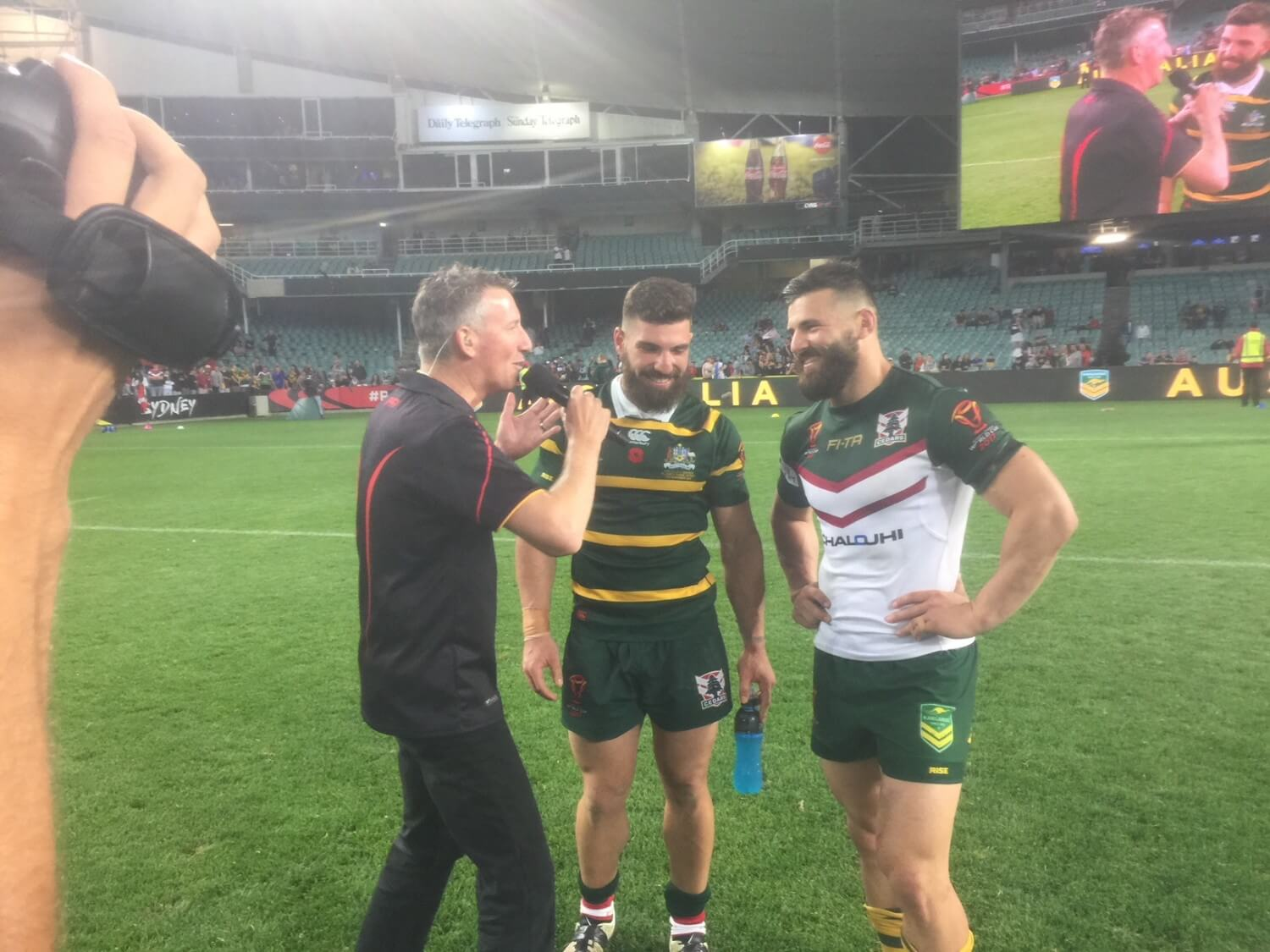 RL World Cup 2017 post match interview with the twins. Sydney Football Stadium