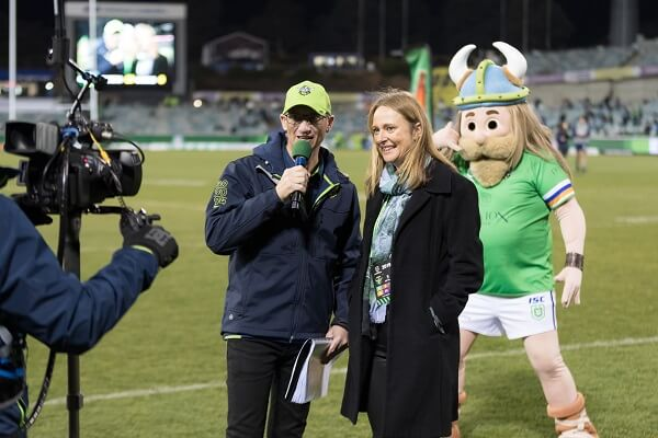 Half time Raiders v Sharks 2019. With Huawei's Lisa Connors and off course Victor.